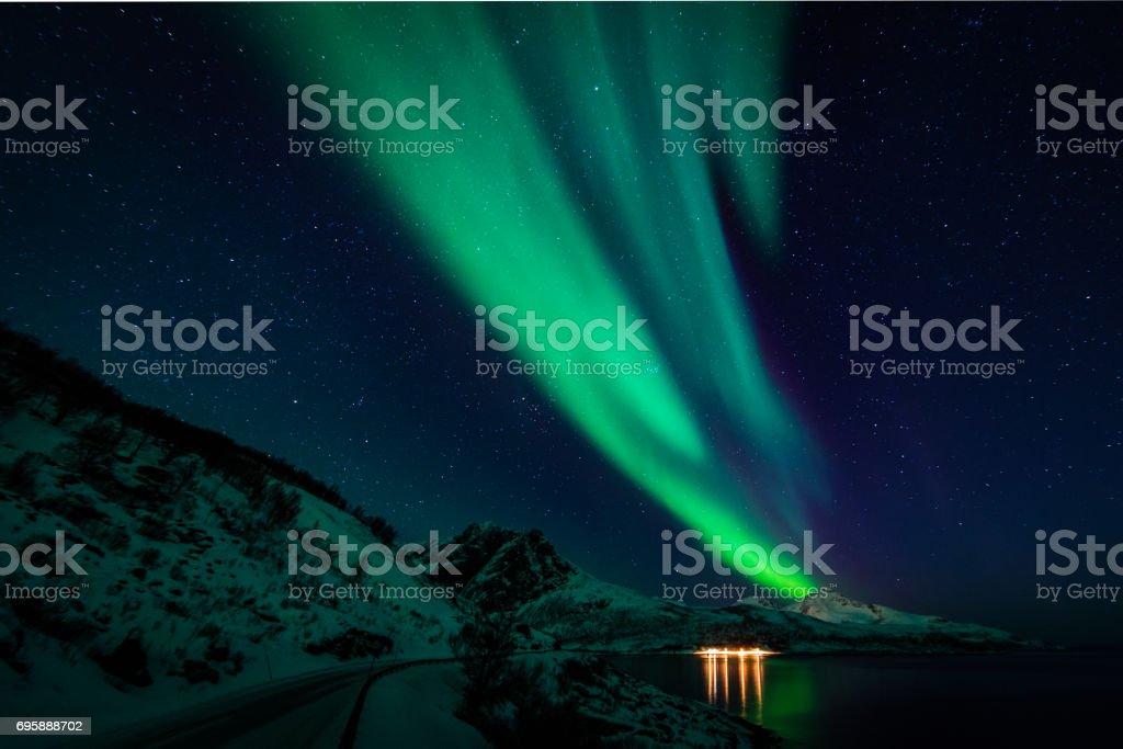 Northern lights in scandinavia stock photo