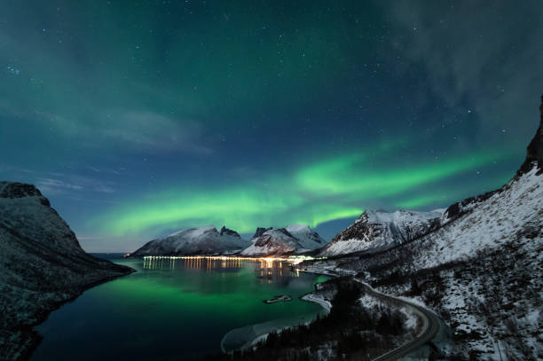 Northern Lights in Senja, Norway stock photo