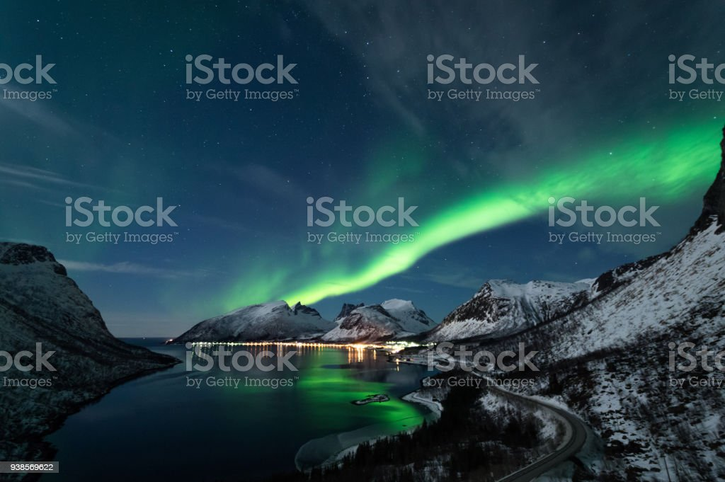 Northern Lights in Senja, Norway royalty-free stock photo