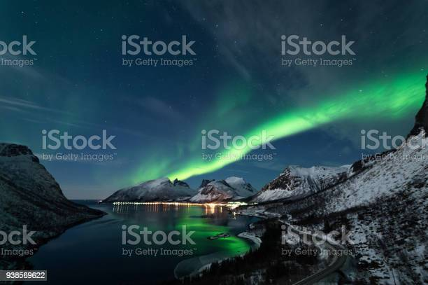 Northern Lights In Senja Norway Stock Photo - Download Image Now