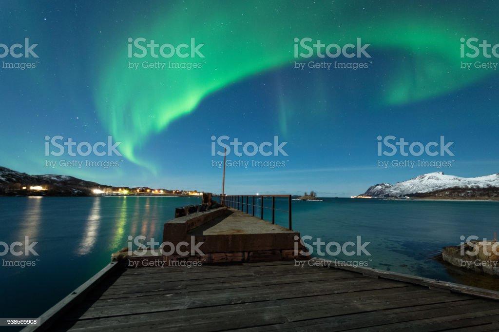 Kuzey ışıkları Senja, Norveç royalty-free stock photo