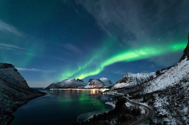 Northern Lights in Senja, Norway stock photo