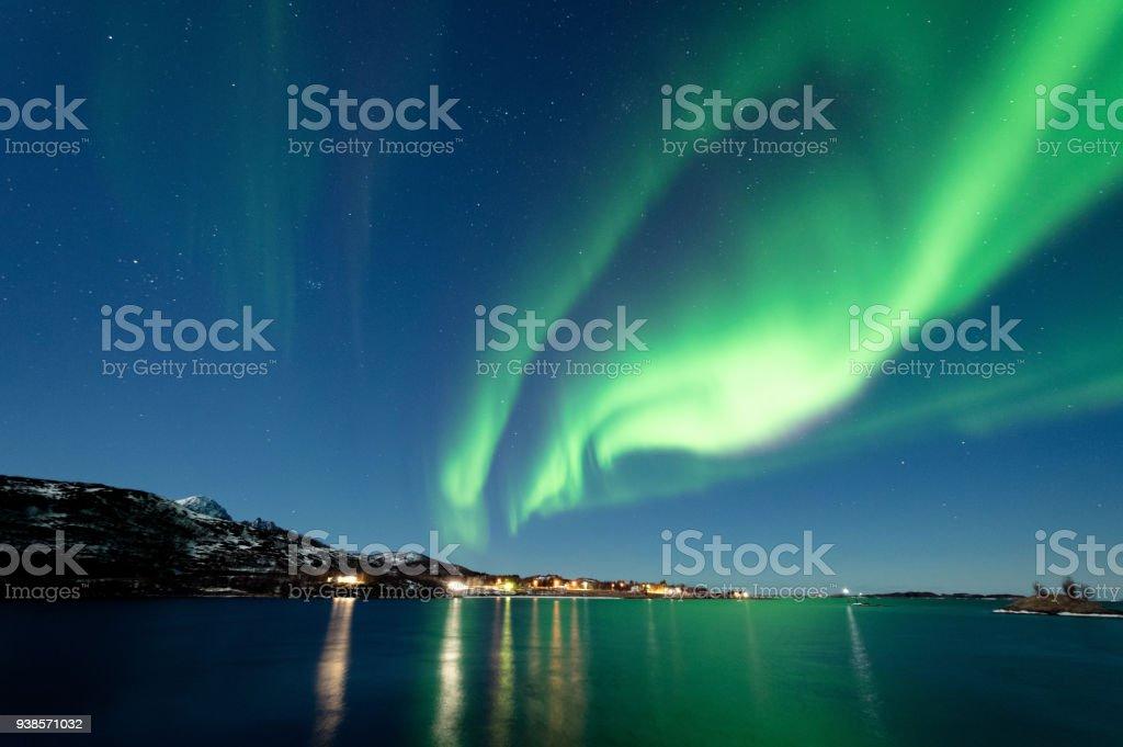 Kuzey ışıkları Senja, Norveç stok fotoğrafı