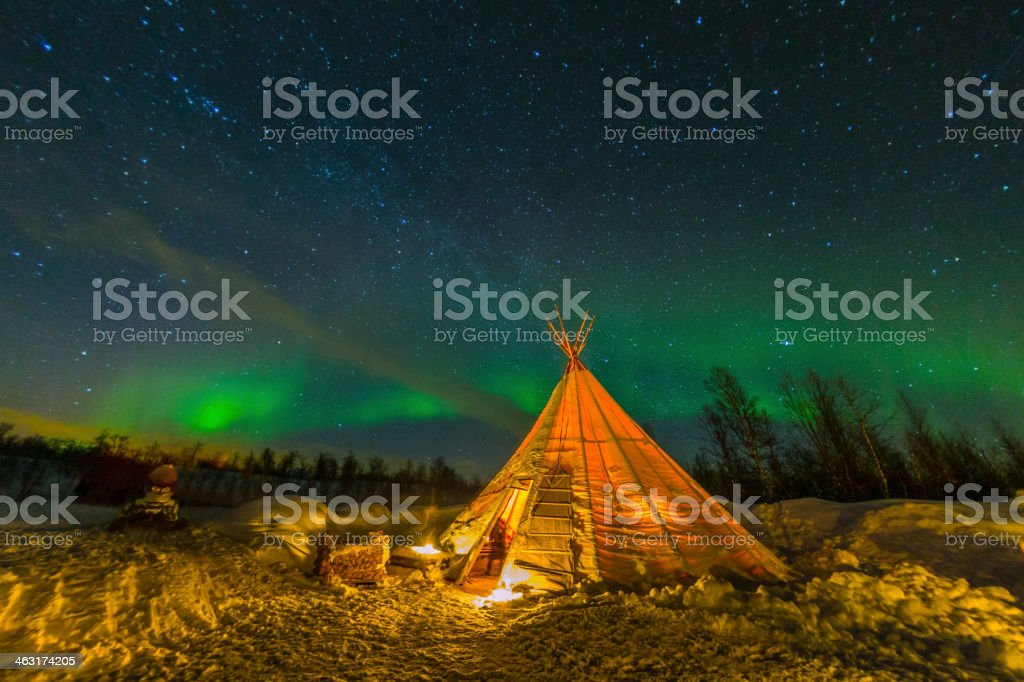 Northern Lights in Sweden stock photo