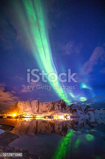 Northern lights in the sky of the Lofoten Islands in Norway