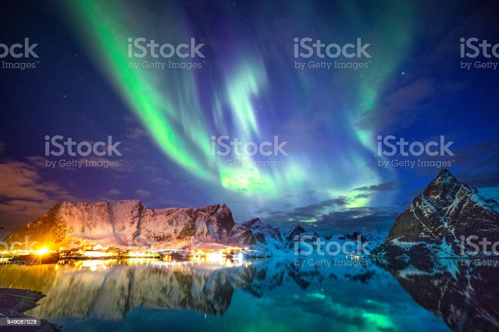 Northern lights in the sky of the Lofoten Islands in Norway stock photo