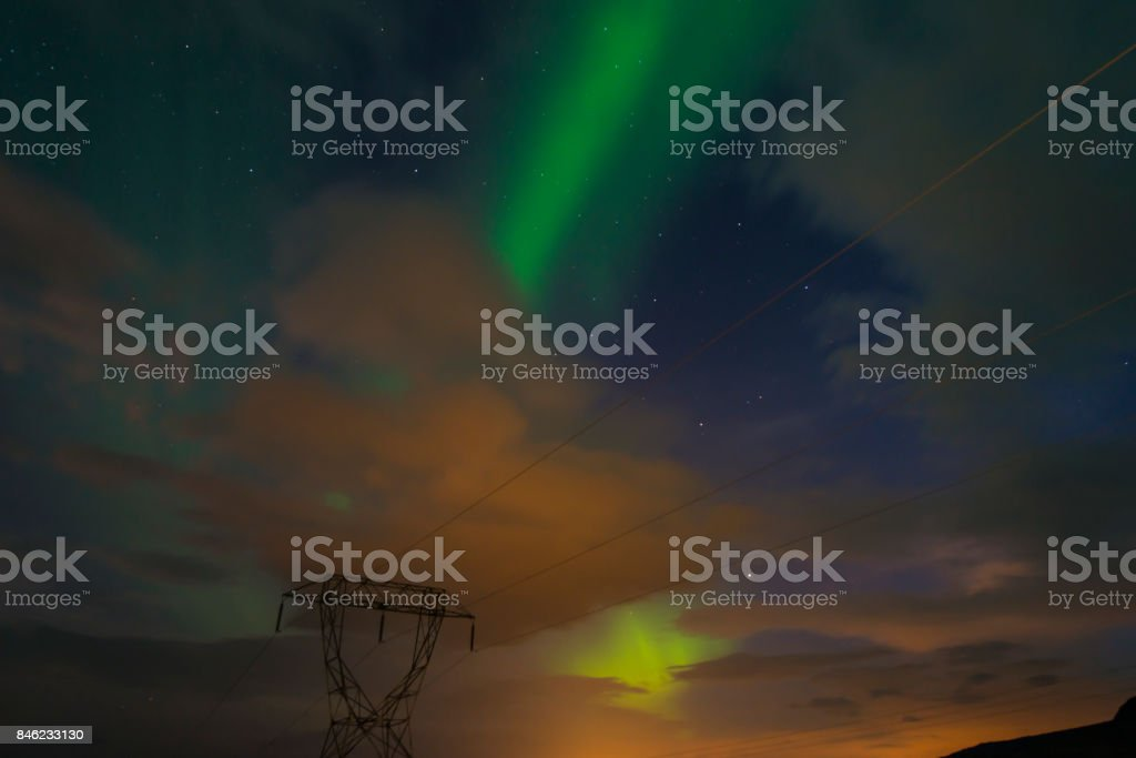 Northern lights (Aurora borealis) in the sky under the Iceland stock photo