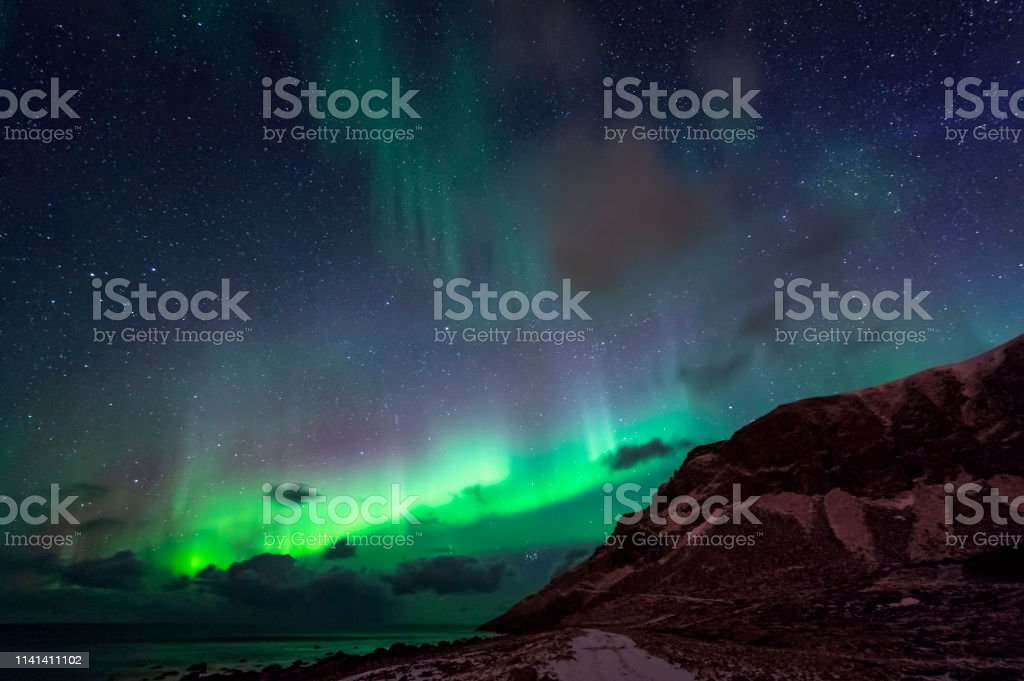 Northern Lights in Unstad stock photo