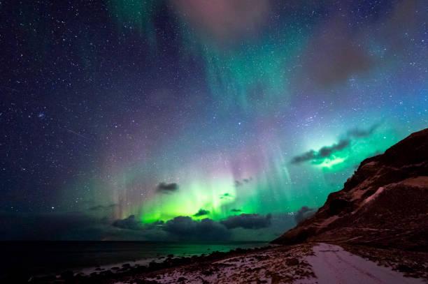 Unstad Kuzey ışıkları stok fotoğrafı
