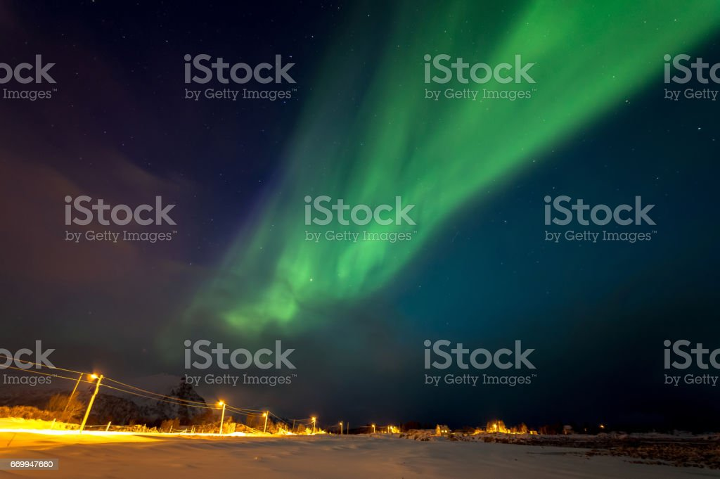 Northern Lights of Lofoten royalty-free stock photo
