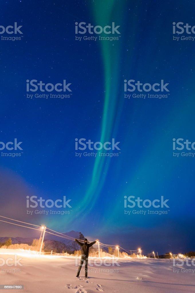 Kuzey ışıkları Lofoten stok fotoğrafı