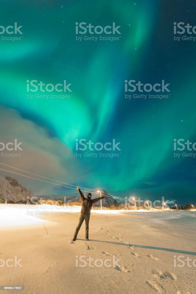 Northern Lights of Lofoten royalty-free stock photo