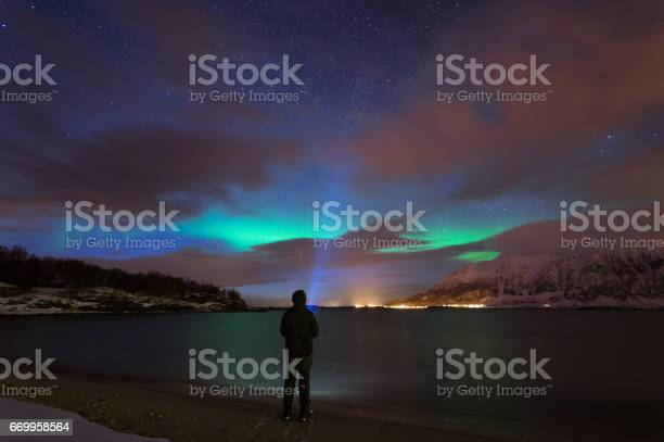 Northern Lights Of Norway Stock Photo - Download Image Now