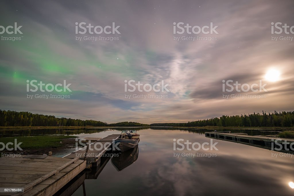 Northern Lights On Vee Lake stock photo