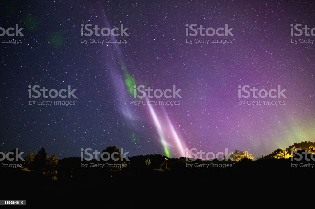 Northern Lights or Aurora Borealis in North America stock photo