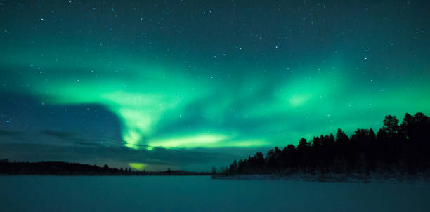 Northern Lights over Lapland stock photo