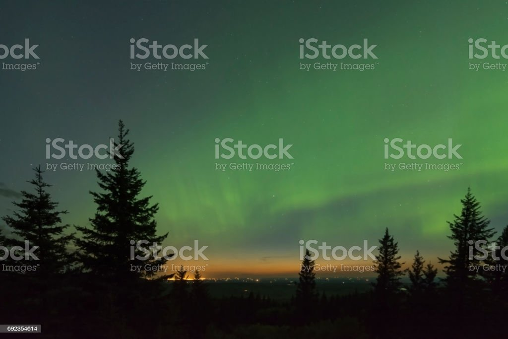 Northern Lights over Medicine Hat Alberta stock photo