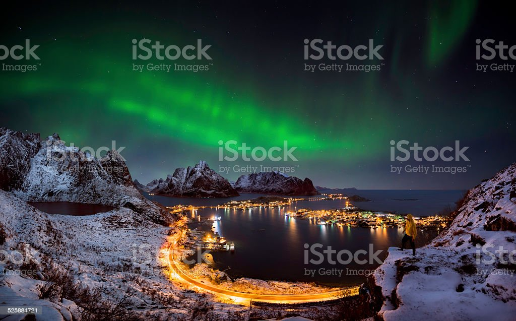 Northern lights over Reine, Norway stock photo