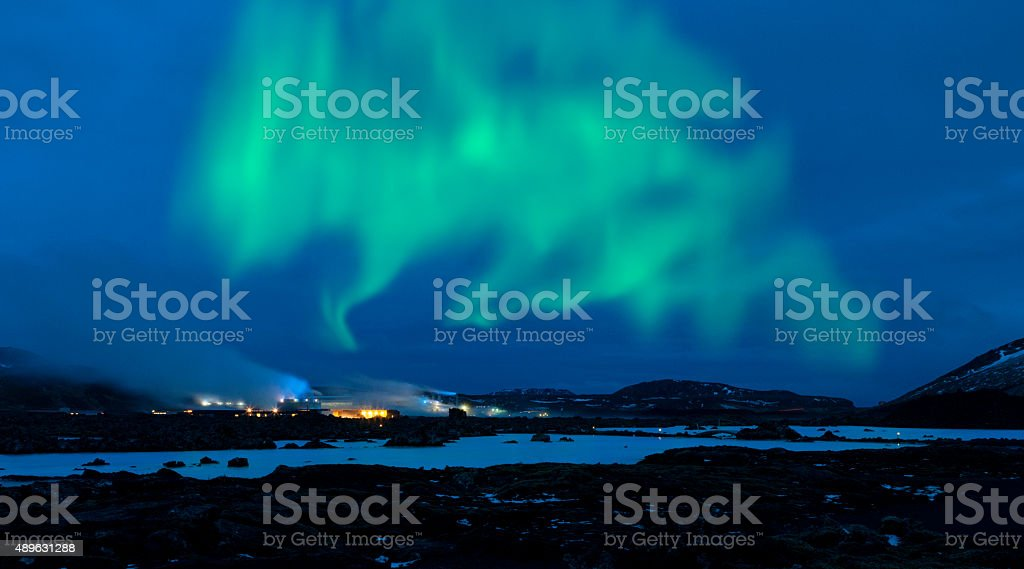 Northern Lights over the Blue Lagoon - Iceland stock photo