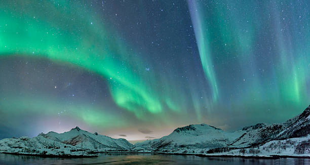 Northern Lights over the Lofoten Islands in Norway bildbanksfoto