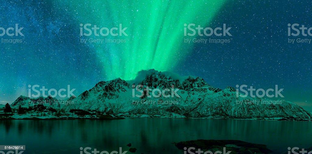 Northern Lights over the Lofoten Islands in Norway stock photo
