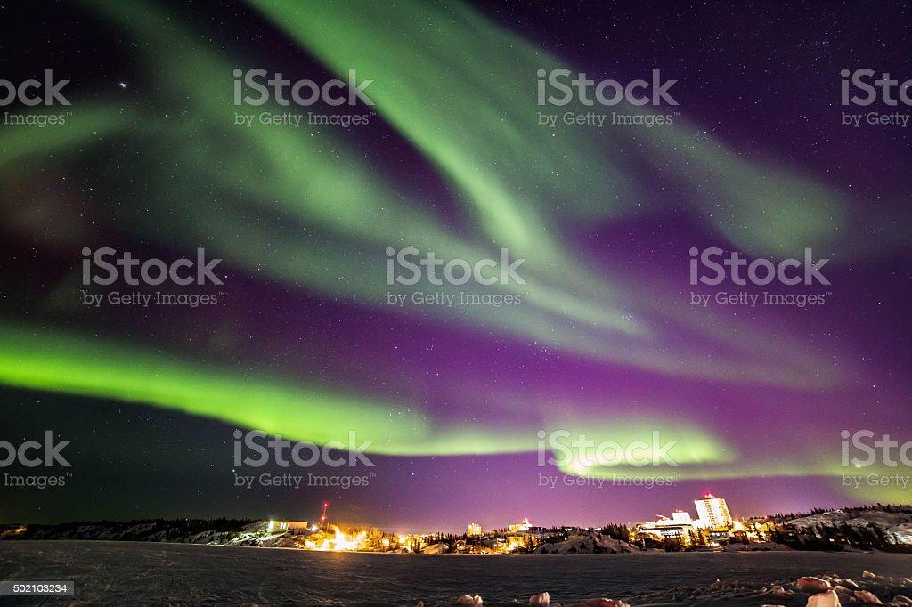 Northern Lights over Yellowknife stock photo