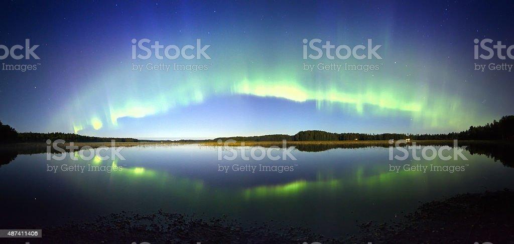 Northern Lights Panorama stock photo