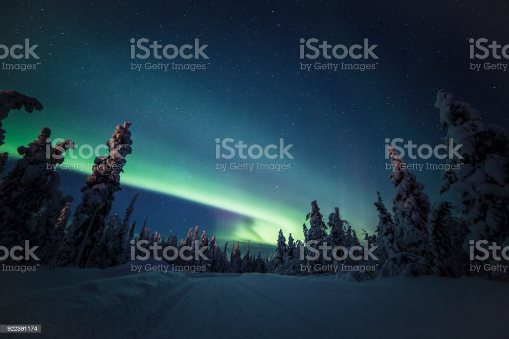 Northern lights with heavy snow stock photo