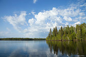 Northern Minnesota lake with pine trees along the shore and bright clouds on a calm morning