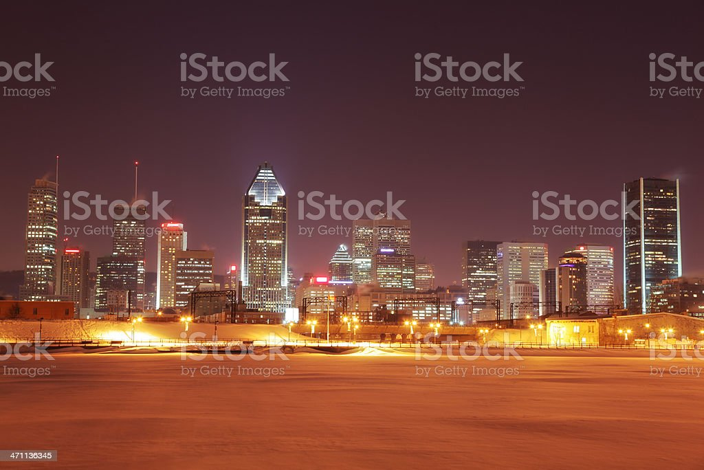 Northern Montreal City in Winter stock photo