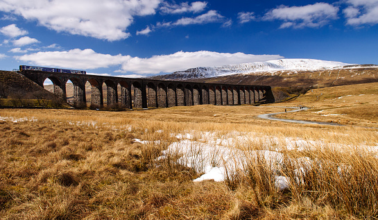 Northern Rail Train On Ribblehead Viaduct Stock Photo - Download Image Now