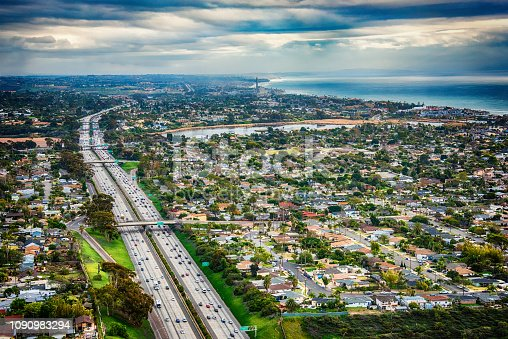 Above the cities of Oceanside and Carlsbad, California, located in the northern coastal section of San Diego County with Interstate 5 running north and south.