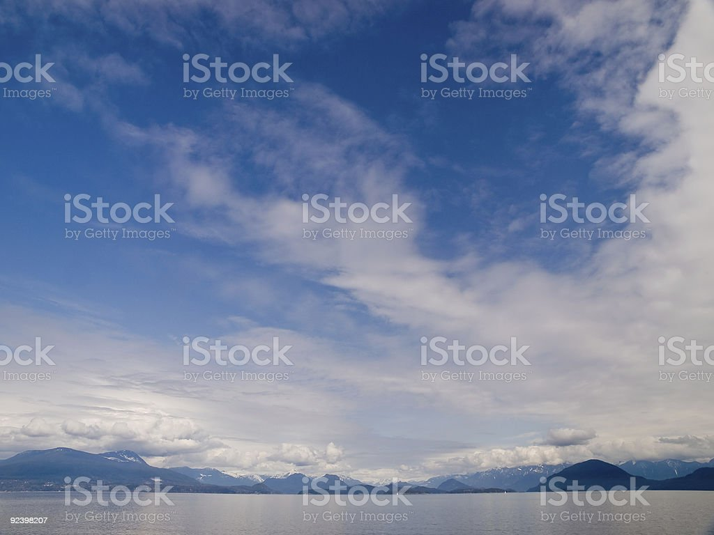 Northern Seascape with Distant Mountains stock photo