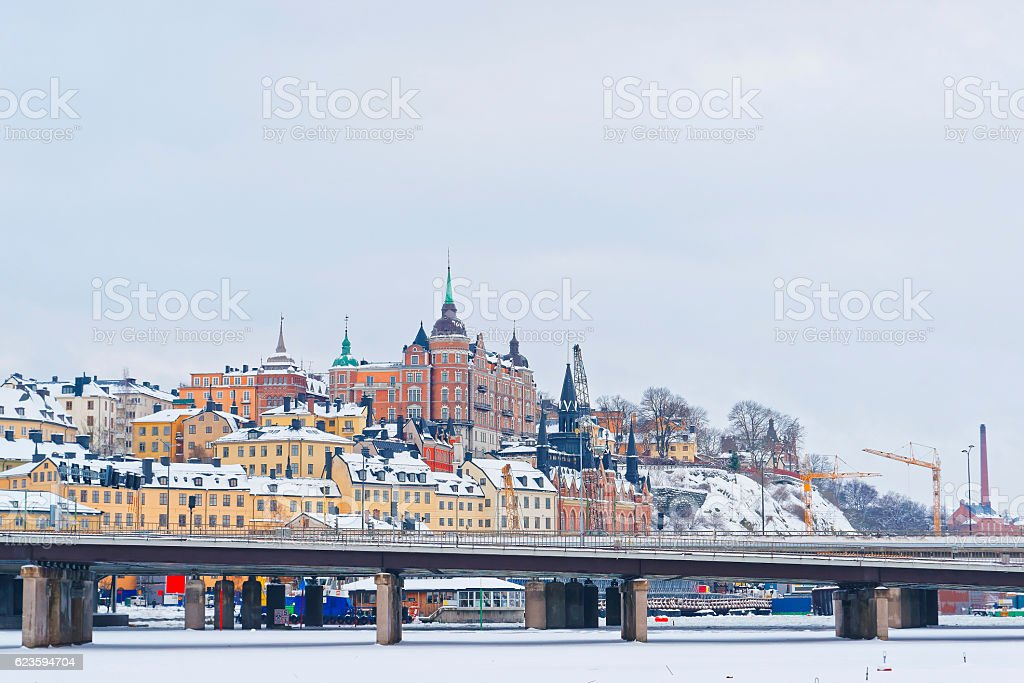 Northern Sodermalm and the bridge to Riddarholmen in winter Stockholm stock photo