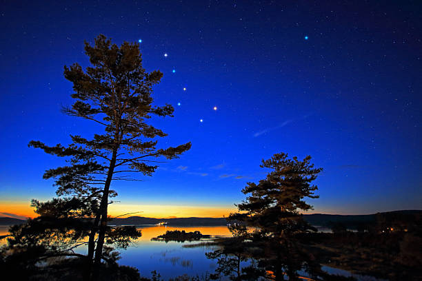 Northern Stars Over Georgian Bay Stars over Georgian Bay in twilight. The Polaris and the stars of the Big Dipper (The Plough or Ursa Major) are digitally enhanced. big dipper constellation stock pictures, royalty-free photos & images