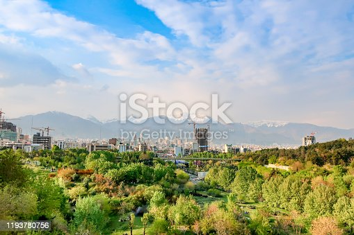 North Tehran With Albruz Mountain in Background - Stock Photo.