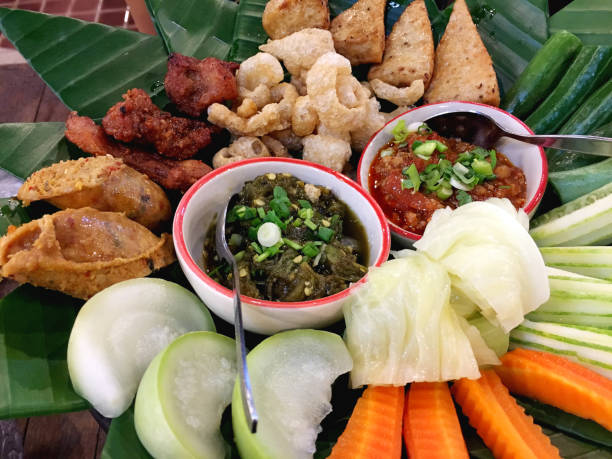Northern Thai appetiser dish of chillies paste variations stock photo