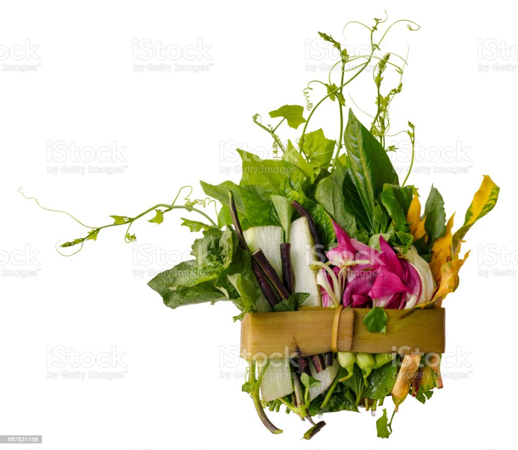 Northern Thai herbs, spices and vegetables, for a Northern Thai traditional recipe called 'Gaeng Khae', which is a curry made of a seasonal mix of flowers and herbs, and can be cooked with free range chicken or pork. stock photo