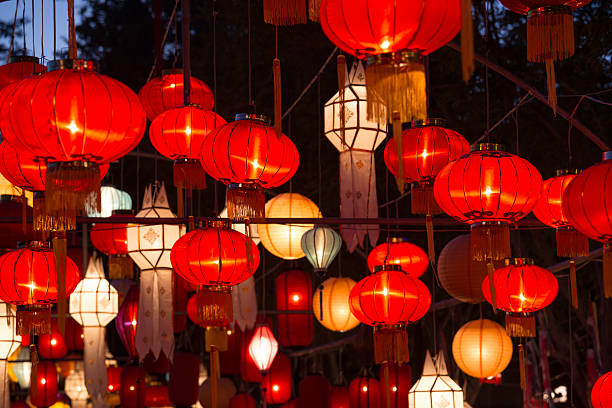 Northern Thai Style Lanterns at Loi Krathong Festival – Foto