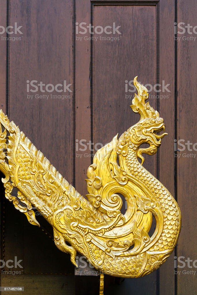 Northern Thailand traditional Naga shaped sculpture stock photo