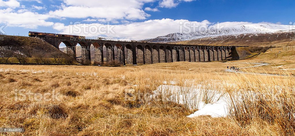 Northern train on Ribblehead Viaduct stock photo