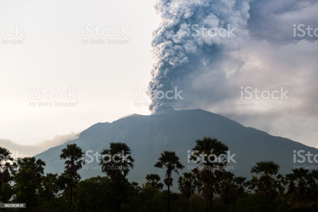 Northern view on eruption of Bali Volcano Mount Agung stock photo