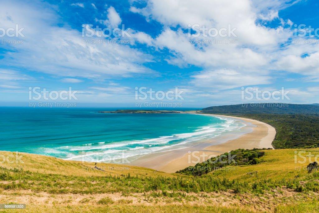 Northland sand beach near Cape Reinga New Zealand stock photo