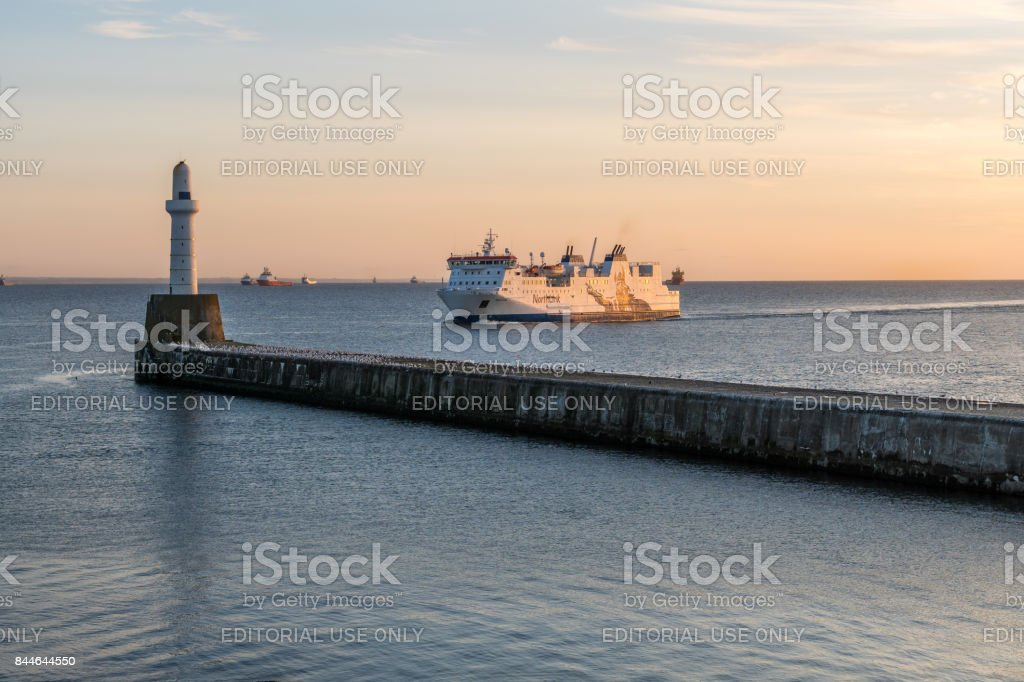 Northlink ferry arrives at Aberdeen Harbour. stock photo