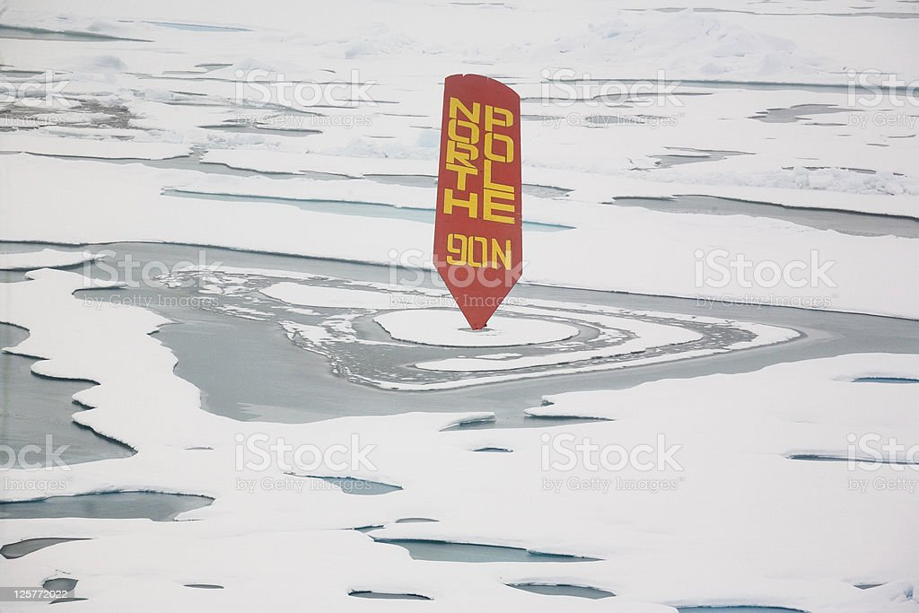Northpole with sign 90° north royalty-free stock photo