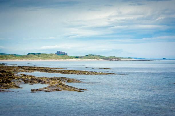 Northumberland Coast looking north to Bamburgh stock photo