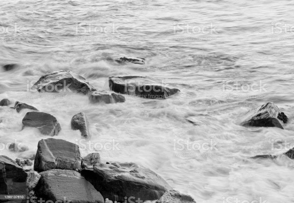 Northumberland coast Rocks on the shoreline of Cullercoats/Tynemouth on the North East Coast of England. 2019 Stock Photo