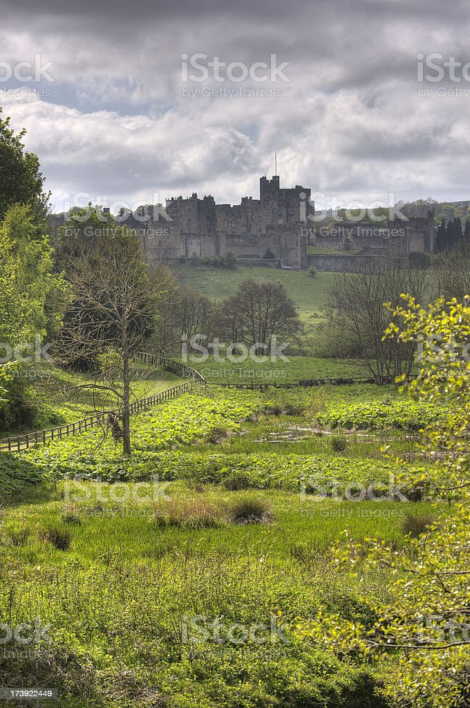 Northumberland countryside Alnwick Castle background stock photo