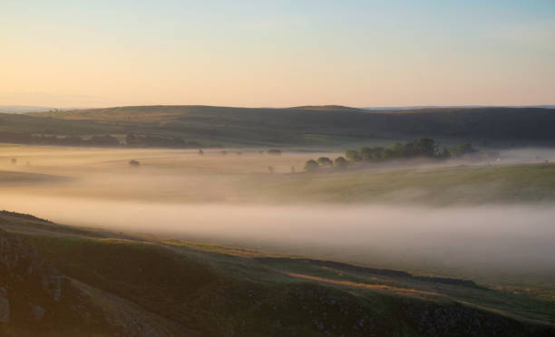 Northumberland Landscape Near Hadrian's Wall At Dawn stock photo