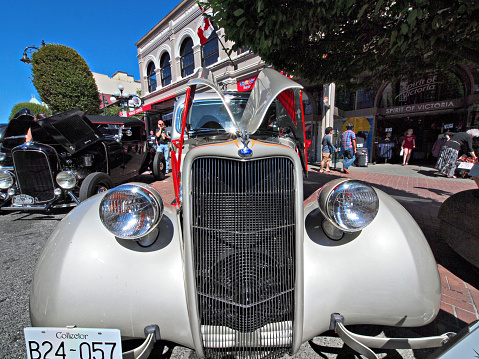 Victoria BC, Canada - July 24, 2016. Northwest Deuce Days, last antique collector car event in Victoria BC, postponed and canceled permanently later as a result of Covid-19 pandemic